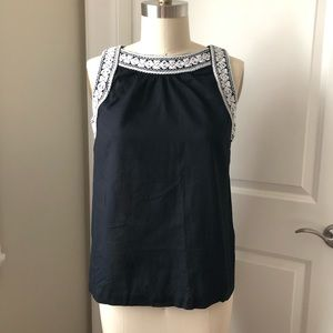 3/$30 Old Navy Black Cotton White Embroidered Top